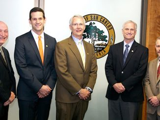 The members of the San Carlos City Council are, from left, Mayor Bob Grassilli, Vice Mayor Cameron Johnson, Mark Olbert, Ron Collins and Matt Grocott. Photo from the city website.