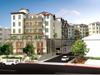 A developer is seeking approval to build this apartment complex at 353 Main St. in Redwood City.