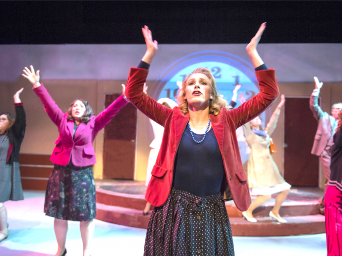 "From left, Elena Panos, Kimberly Kay and Megan Brown rush to work in Foothill Music Theatre's ""9 to 5 The Musical."" Photo by David Allen."
