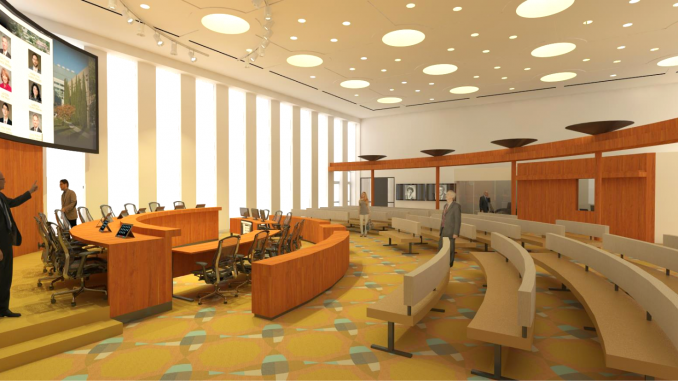 The city provided an artist's conception of the renovated City Council Chambers, which include bigger monitors on the dais and a large LED screen behind the council members.