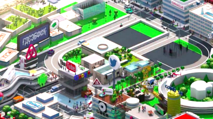 """The opening sequence of Sunday's episode of """"Silicon Valley"""" showed the usual cartoonish collection of local corporate buildings belonging to Oracle, HP, Intel, Twitter, YouTube, etc. Look carefully at the Facebook headquarters. Facebook is under intense scrutiny over its role in Russian interference in the 2016 presidential election."""