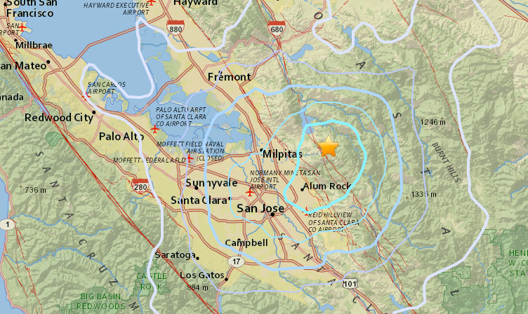 A U.S. Geological Survey map showing the epicenter of this morning's (April 16) earthquake.