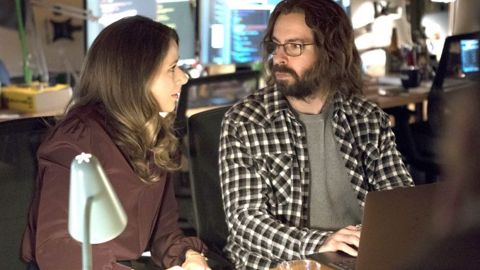 Monica (Amanda Crew) and Gilfoyle (Martin Starr) start off sparring with one another but end the episode bonding over whiskey and shared skepticism. HBO photo.