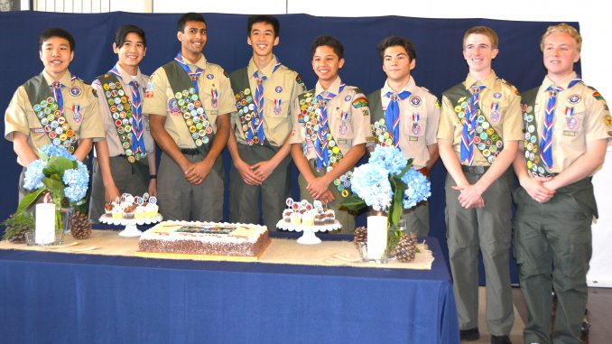BOY SCOUTS, from left, Brian Chao, Eric Mow, Arjun Singla, Andrew Shieh, Gage Rodriguez, Ryan McCauley, Braydon Ross and Aidan Slusser have earned the rank of Eagle Scout. They all belong to Troop 30 of Los Altos.