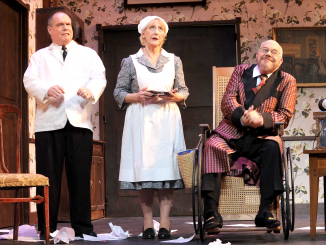 "From left, Shawn Bender as John, Patricia Tyler as Sarah, and James Shelby as Sheridan Whiteside in the Palo Alto Players' ""The Man Who Came to Dinner."" Photo by Joyce Goldschmid."