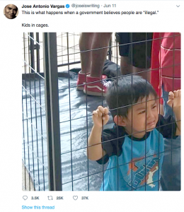 The tweet journalist Jose Antonio Vargas sent on June 11 that many felt depicted a child in a migrant detention center. As it turned out, it was actually a boy at a Dallas protest.