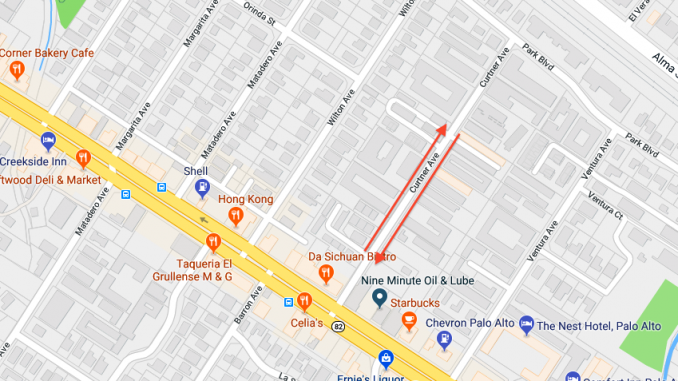The 300 block of Curtner Avenue is identified with arrows. Source: Google Maps.