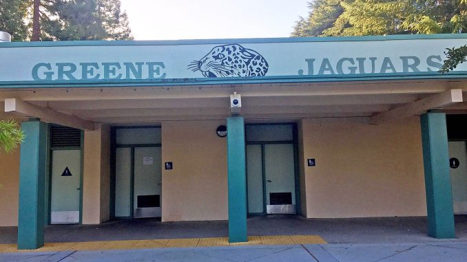 A few of the signs at Jordan Middle School in Palo Alto have been repainted to reflect the school's new name. The Palo Alto school board voted in March to rename Jordan after Frank Greene, a black Silicon Valley tech luminary, and Terman Middle School after Ellen Fletcher, the late Palo Alto councilwoman, bicycling advocate and Holocaust survivor, because David Starr Jordan and Lewis Terman were eugenics advocates. It looks like Greene will keep Jordan's mascot, the Jaguars. Post photo.