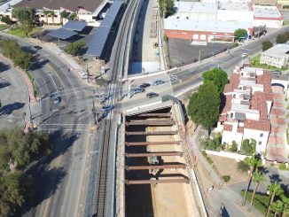An aerial shot of construction of a train trench in San Gabriel in July 2016. Photo by Brian Bothun.