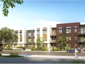 The housing portion of the development that will replace Beltramo's Wine and Spirits in Menlo Park.