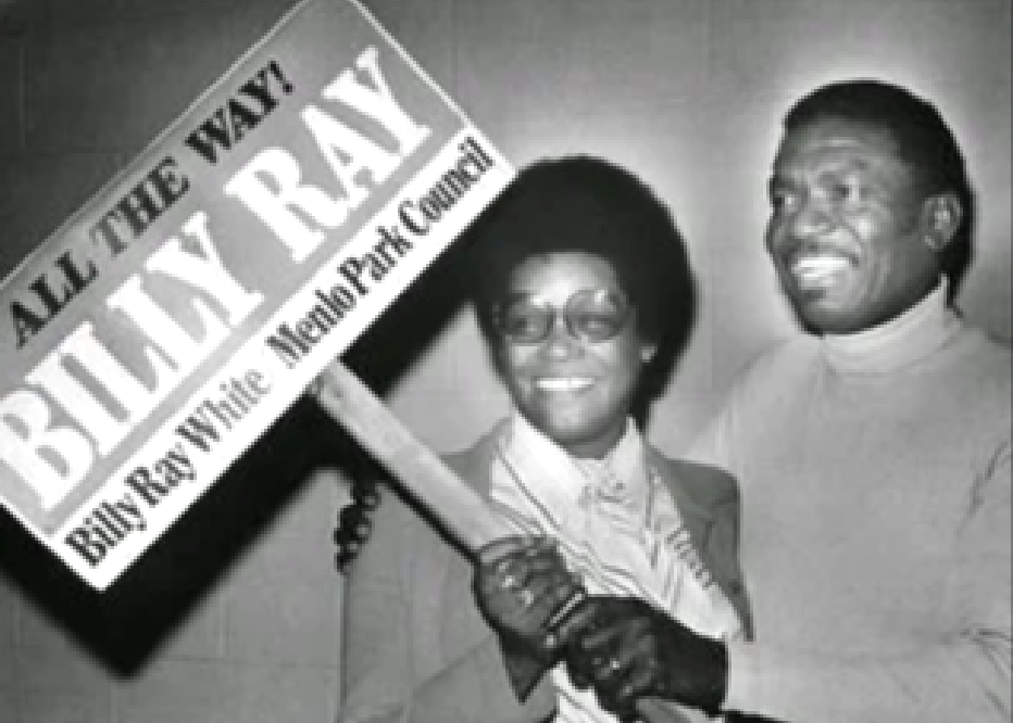 Billy Ray White holding a campaign sign. Photo courtesy of the Menlo Park Historical Society.