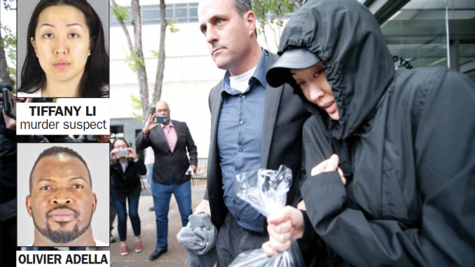 Tiffany Li, right, leaves with a bodyguard from San Mateo County Jail in Redwood City after posting an unprecedented $35 million bail on April 6, 2017. AP photo.