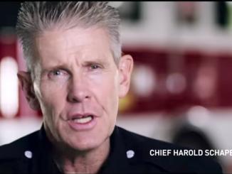 Menlo Park Fire Chief Harold Schapelhouman in a PG&E commercial.
