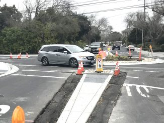 The city of Palo Alto is putting the finishing touches on a roundabout at Ross Road and Meadow Drive. Post photo.