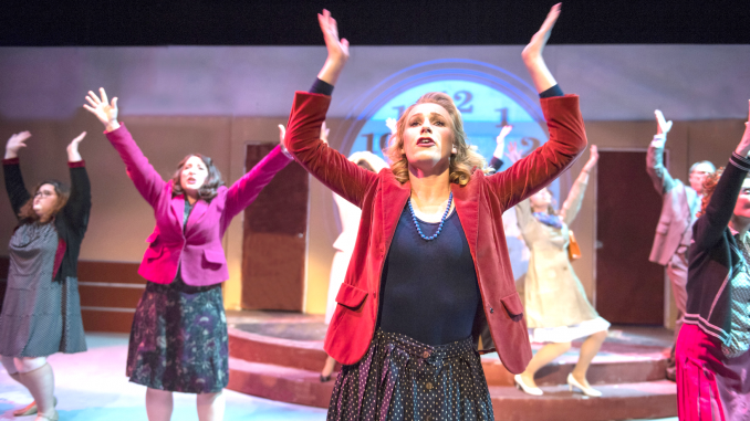 """From left, Elena Panos, Kimberly Kay and Megan Brown rush to work in Foothill Music Theatre's """"9 to 5 The Musical."""" Photo by David Allen."""