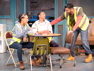 "From left, Shanita (Tristan Cunningham), Faye (Margo Hall) and Dez (Christian Thompson) are auto plant workers in Dominique Morisseau's ""Skeleton Crew."" Photo by Kevin Berne."