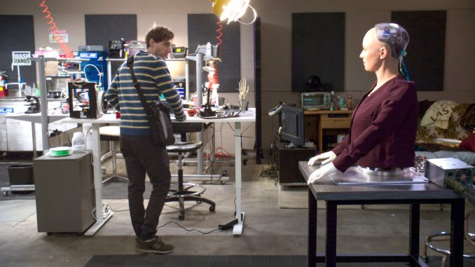 Richard (Thomas Middleditch) is unnerved by AI robot Fiona. HBO photo.