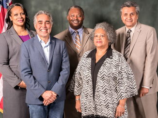 East Palo Alto City Council members, from left, Lisa Gauthier, Carlos Romero, Larry Moody, Donna Rutherford and Mayor Ruben Abrica. Photo from city website.