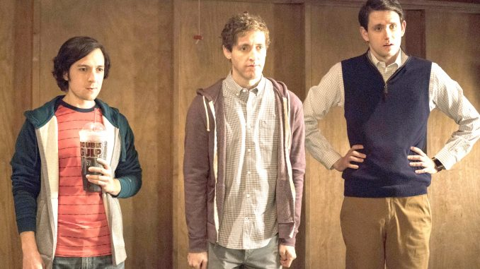 Big Head (Josh Brener), Richard (Thomas Middleditch) and Jared (Zach Woods) stare at Fiona. HBO photo.