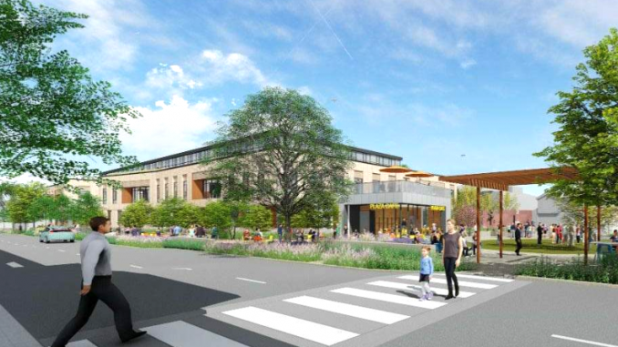 Los Altos officials wanted to give city property to Los Altos Community Investments to build this 77,000-square-foot office building on First Street last year. The development company, headed by Anne Wojcicki, pulled the proposal last October. But a citizens initiative that has qualified for the November ballot will require all similar sales of city land to receive voter approval. Illustration by EHDD Architecture of San Francisco.