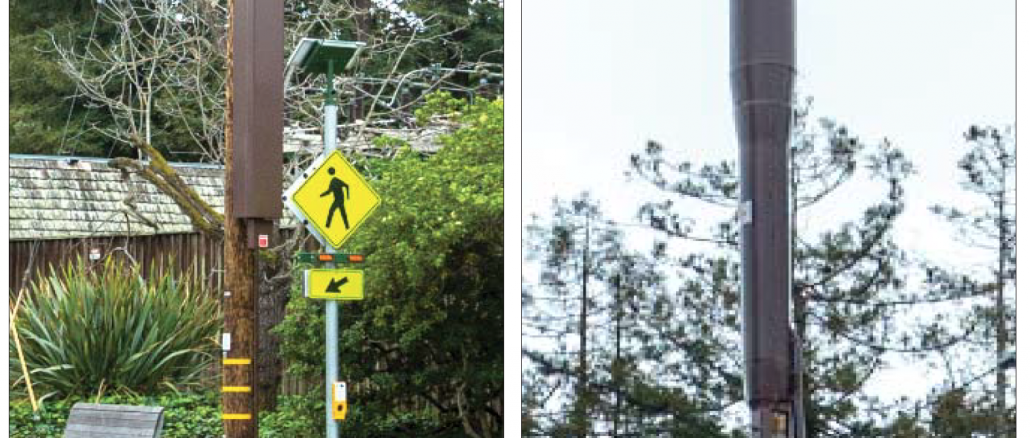 """This is an example of a """"node"""" antenna located at Newell Road and Hopkins Avenue in Palo Alto. At left is the equipment box. At right is the top of the antenna. Photos were provided to the city by Verizon."""