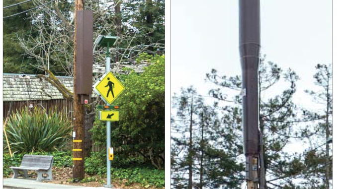 "This is an example of a ""node"" antenna located at Newell Road and Hopkins Avenue in Palo Alto. At left is the equipment box. At right is the top of the antenna. Photos were provided to the city by Verizon."