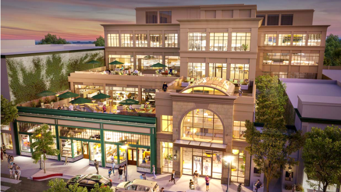 An artist's rendering of plans for 851 Main St. in Redwood City. Illustration courtesy of Acclaim Companies.