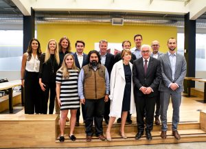 German President Frank-Walter Steinmeier, second from right, visits HanaHouse in Palo Alto. Photo by Paula Saslow of Copper Rose Films