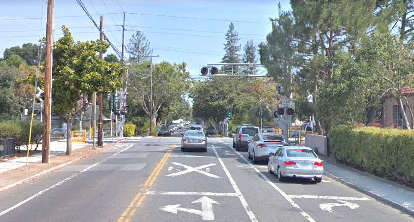 The railroad tracks at Churchill Avenue in Palo Alto. Google Streetview photo