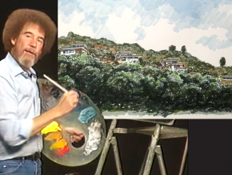 "In the top right of this photo is the rendering developer Ron Grove submitted to the city of San Carlos for a five-home development he hopes to build in Devonshire Canyon. The rendering, with blue brush strokes for the sky and green vegetation, looks like something public TV's Bob Ross would have painted. So the Post Photoshopped the rendering onto Ross's easel. As Bob would say, ""This isn't a mistake, only a happy accident."""