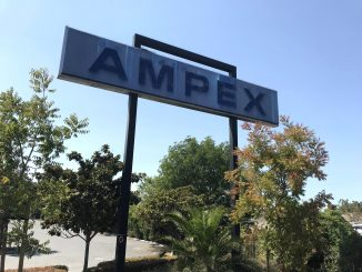 Crews have removed the white letters from the Ampex sign along Highway 101 in Redwood City. The sign will be removed this week. Post photo.
