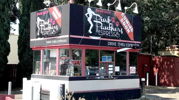 They're not open yet, but here's what will be the Pink Pantherz coffee shop at El Camino Real and Dumbarton Avenue in the North Fair Oaks neighborhood between Atherton and Redwood City.