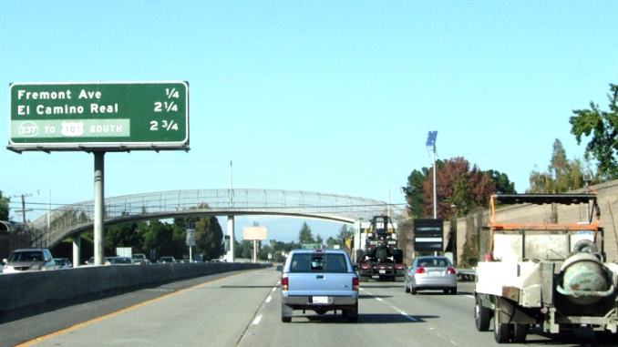 An empty carpool lane on Highway 85 in Los Altos. Post file photo.