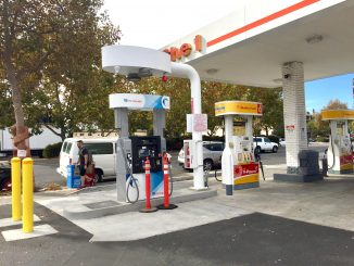 This pump at the Barron Park Shell station in Palo Alto dispenses hydrogen fuel. Post photo by Allison Levitsky.