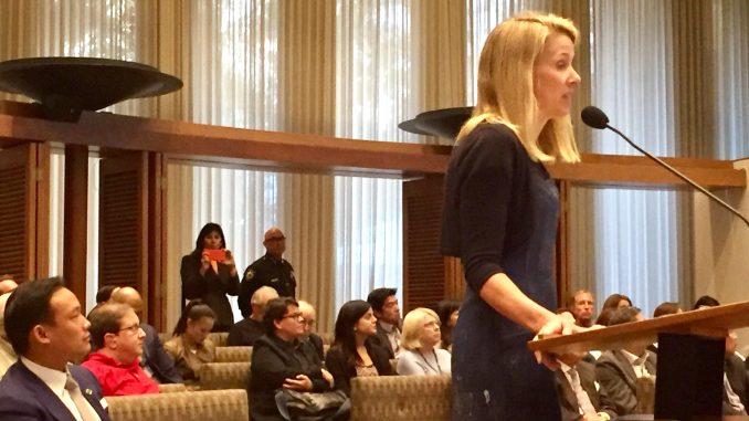 Marissa Mayer speaks to the Palo Alto City Council. Post photo by Allison Levitsky.