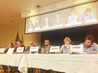Palo Alto school board candidates, from left, Stacey Ashlund, Christopher Boyd, Ken Dauber, Shounak Dharap, Kathy Jordan and Alex Scharf participate in an election debate, hosted by Asian Americans for Community Involvement and the Palo Alto Chinese Parents Club. Photo by Allison Levitsky.
