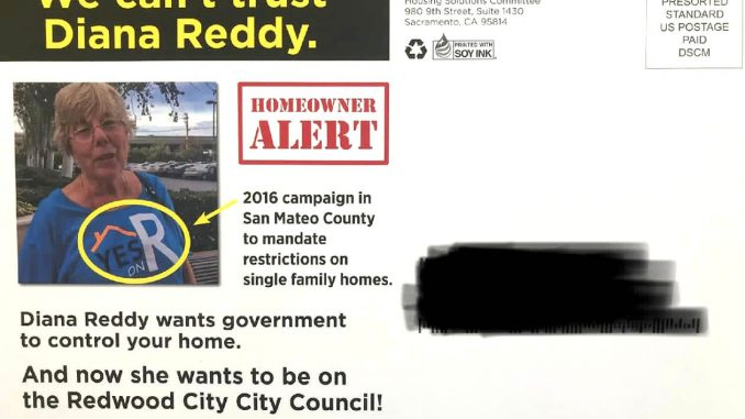 Redwood City council candidate Diana Reddy is objecting to this mailer sent out by the California Apartments Association, a landlord group.
