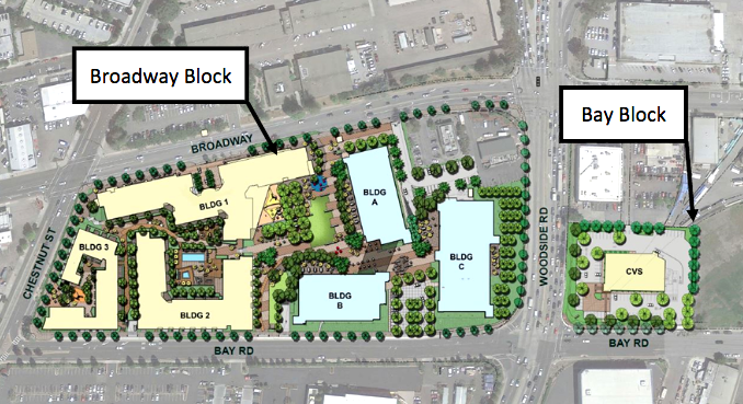 The proposed Sobrato Organization development at 1401 Broadway, 1155 Broadway and 2201 Bay Road. Illustration from the Planning Department report that will be presented to the Planning Commission on Dec. 4.