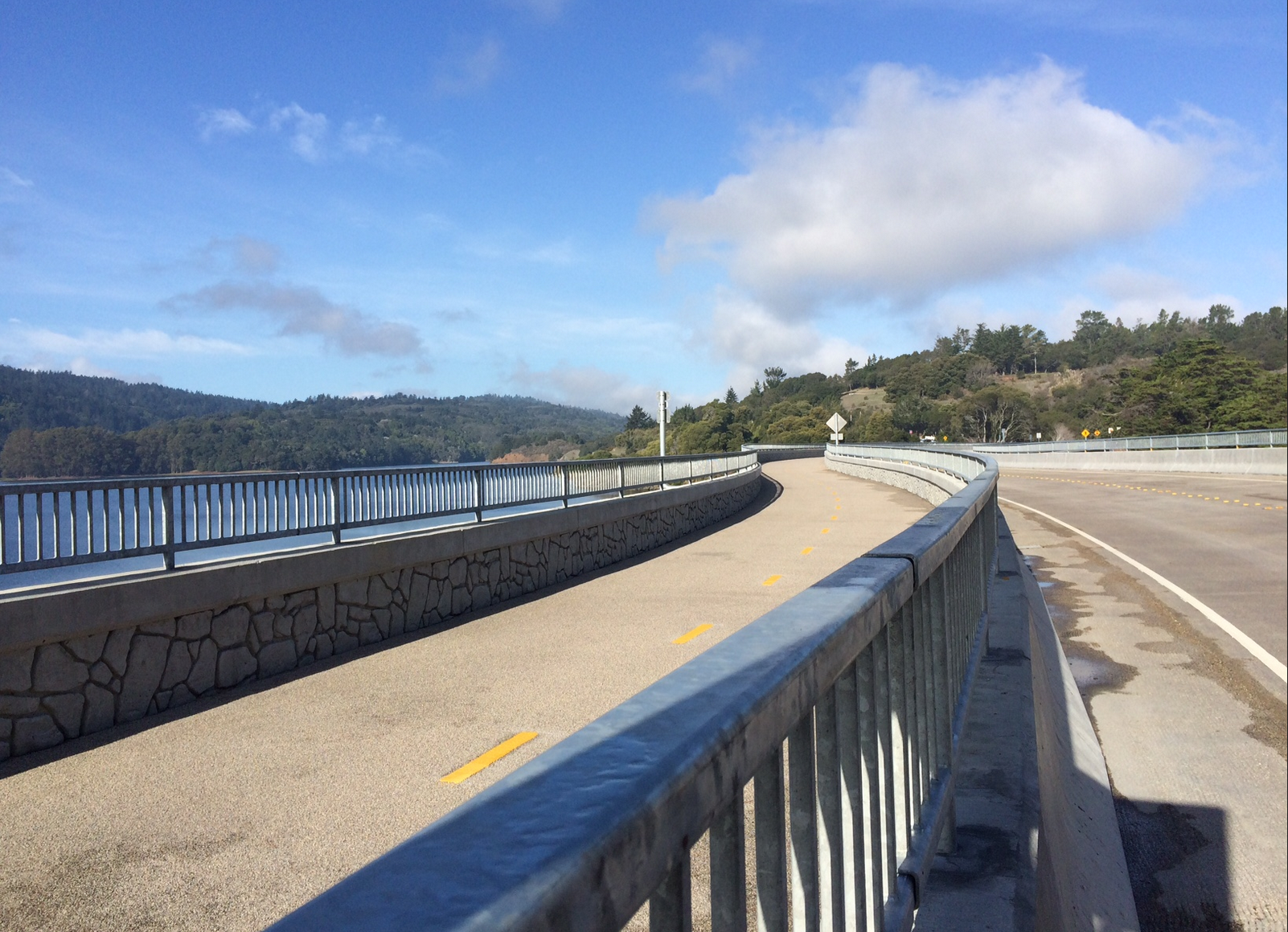 The roadway that runs above the Lower Crystal Dam. San Mateo County photo.