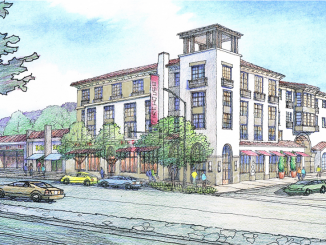 This drawing shows a project with 81 homes and stores near the Iron Gate restaurant on El Camino in Belmont.