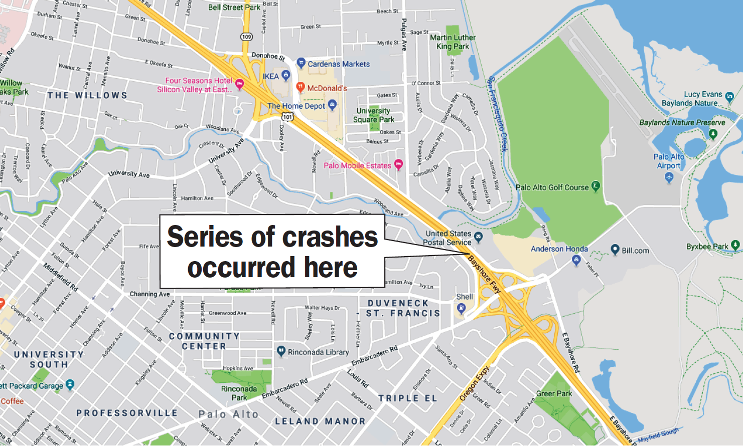 1 dead, 5 injured in a series of car accidents on 101 - Palo
