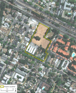 An aerial view of the proposal for 1720 Villa St. in Mountain View.
