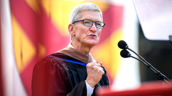 Apple CEO Tim Cook addressed graduates at Stanford Stadium today (June 16). Photo by L.A. Cicero of the Stanford News Service.