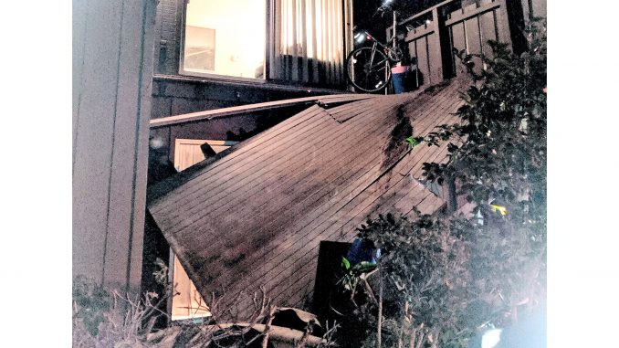 The second-floor balcony at 50 E. Middlefield Road in Mountain View collapsed on Wednesday night. Photo submitted by Post reader Roger Noel.
