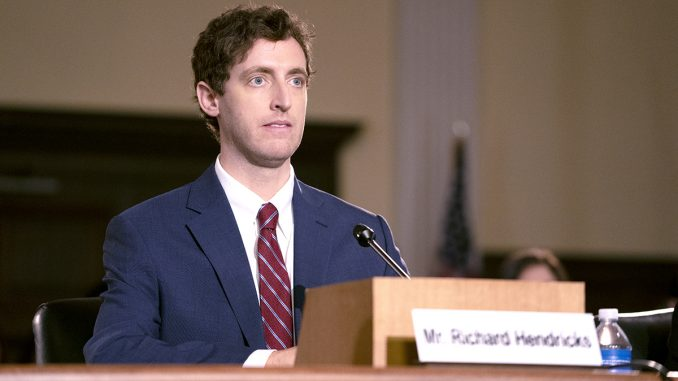 "The HBO parody of local tech culture, ""Silicon Valley"" began its sixth and final season Sunday night (Oct. 27). Striking a pose very much like Facebook's Mark Zuckerberg, Pied Piper founder Richard (Thomas Middleditch) appears before Congress in this episode. Photo courtesy of HBO."