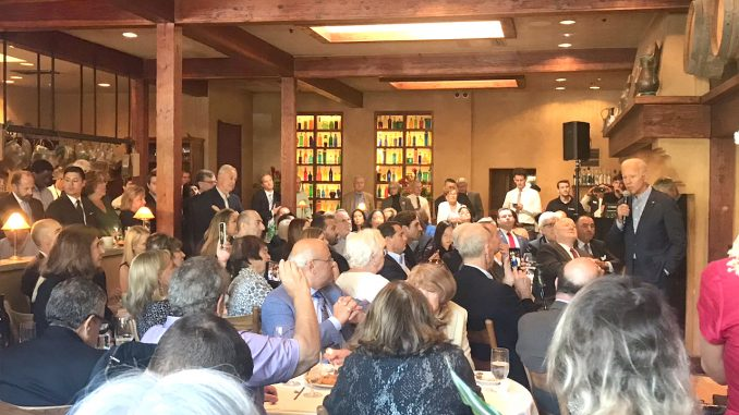Joe Biden speaks to donors at Evvia on Emerson St. in Palo Alto yesterday. Photo by Post reader Stu Soffer.
