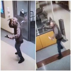Redwood City police released these surveillance photos of the man who walked into Kaiser Hospital on Veterans Boulevard and threatened employees.