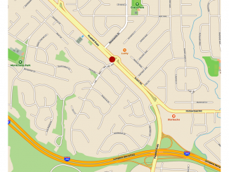 The red dot shows the location of the accident that led to the power outage. Apple maps.