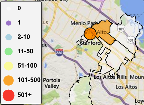 Palo Alto power outage map as of 2 a.m. on Thursday, Oct. 3.