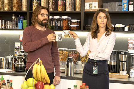 """Gilfoyle (Martin Starr) and Monica (Amanda Crew) band together to overthrow a new scoring system by the HR lady on HBO's """"Silicon Valley."""" HBO photo."""